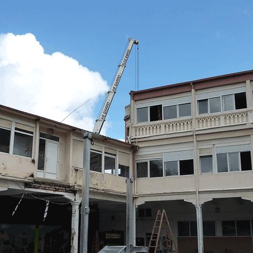 Coordinación de seguridad en fase de ejecución de reparación cubierta e instalación ascensor y escalera exterior villa sacramento. Donostia